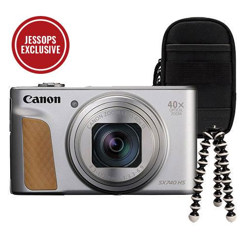 Canon PowerShot SX740 HS Camera in Silver with Canon Case and Joby GorillaPod