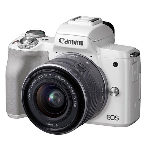 Canon EOS M50 Mirrorless Camera in White with EF-M 15-45mm IS STM Lens