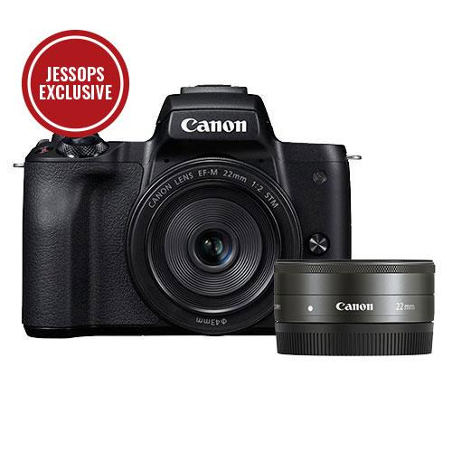 Canon EOS M50 Mirrorless Camera in Black with EF-M 15-45mm IS STM and EF-M 22mm f/2 STM Lenses