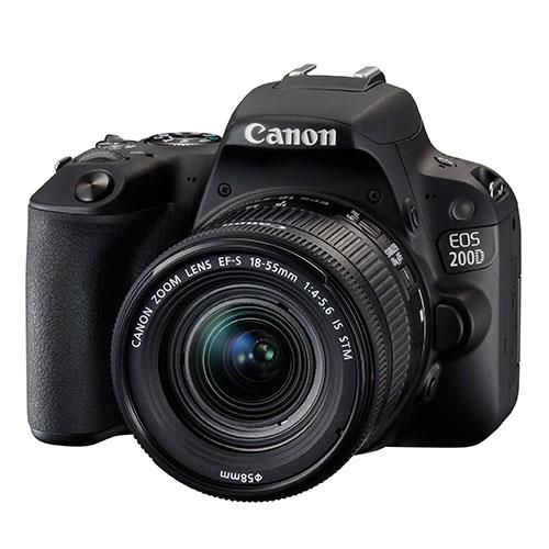 Canon EOS 200D DSLR in Black with 18-55mm f/4-5.6 IS STM Lens