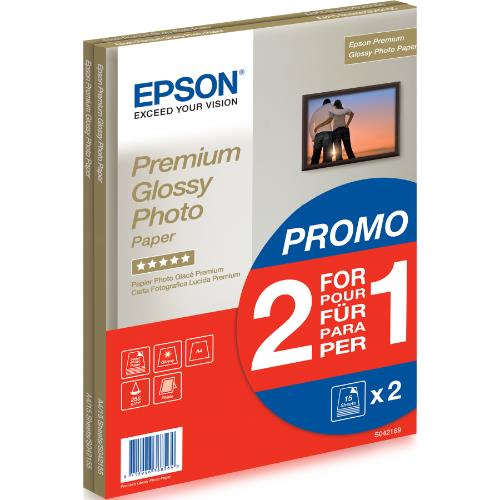 Epson Premium Glossy Photo Paper A4 15 Sheets x2