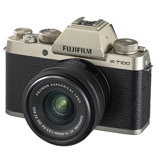 Fujifilm X-T100 Mirrorless Camera in Champagne Gold + XC15-45mm lens