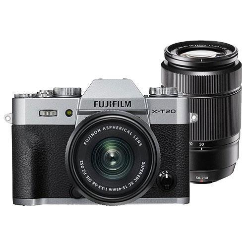 Fujifilm Fujifilm X-T20 Mirrorless Camera in Silver with XC15-45mm Lens and XC50-230mm f/4.5-6.7 OIS II Lens