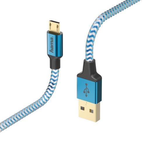Hama Reflective Charging/Data Micro-USB 1.5m Cable Blue
