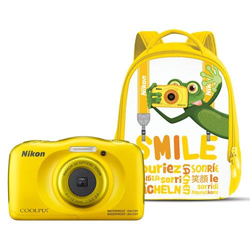 Nikon Coolpix W100 Digital Camera in Yellow with Backpack