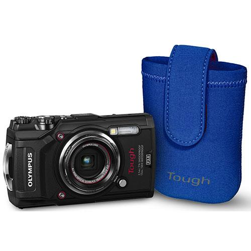 Olympus Tough TG-5 Digital Camera in Black with Blue Neoprene Case