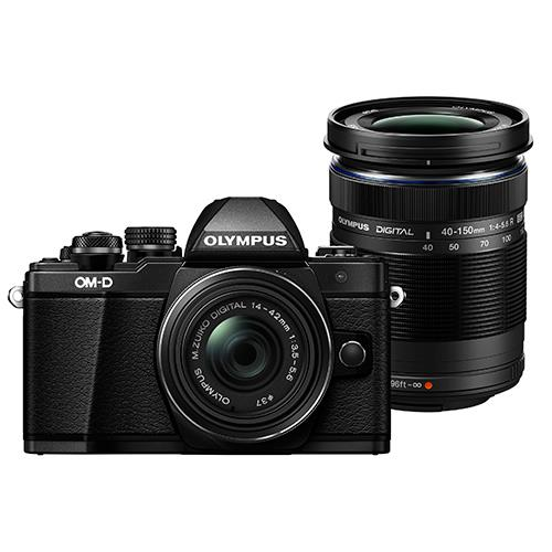 Olympus OM-D E-M10 Mark II Compact System Camera in Black with 14-42mm EZ and 40-150mm R Lens