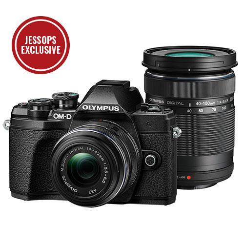 Olympus OM-D E-M10 Mark III Mirrorless Camera in Black with 14-42mm and 40-150mm R Lenses