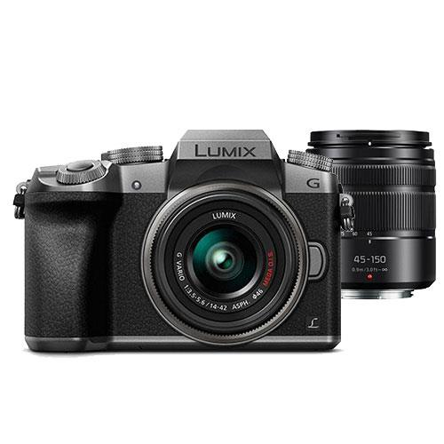 Panasonic Lumix DMC-G7 Mirrorless Camera in Silver with 14-42mm and 45-150mm Lenses